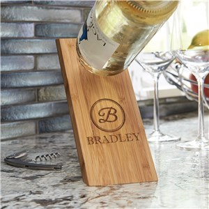Engraved Initial Wine Bottle Balancer | Balancing Wine Bottle Holder