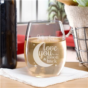 Engraved To The Moon and Back Stemless Wine | Romantic Home