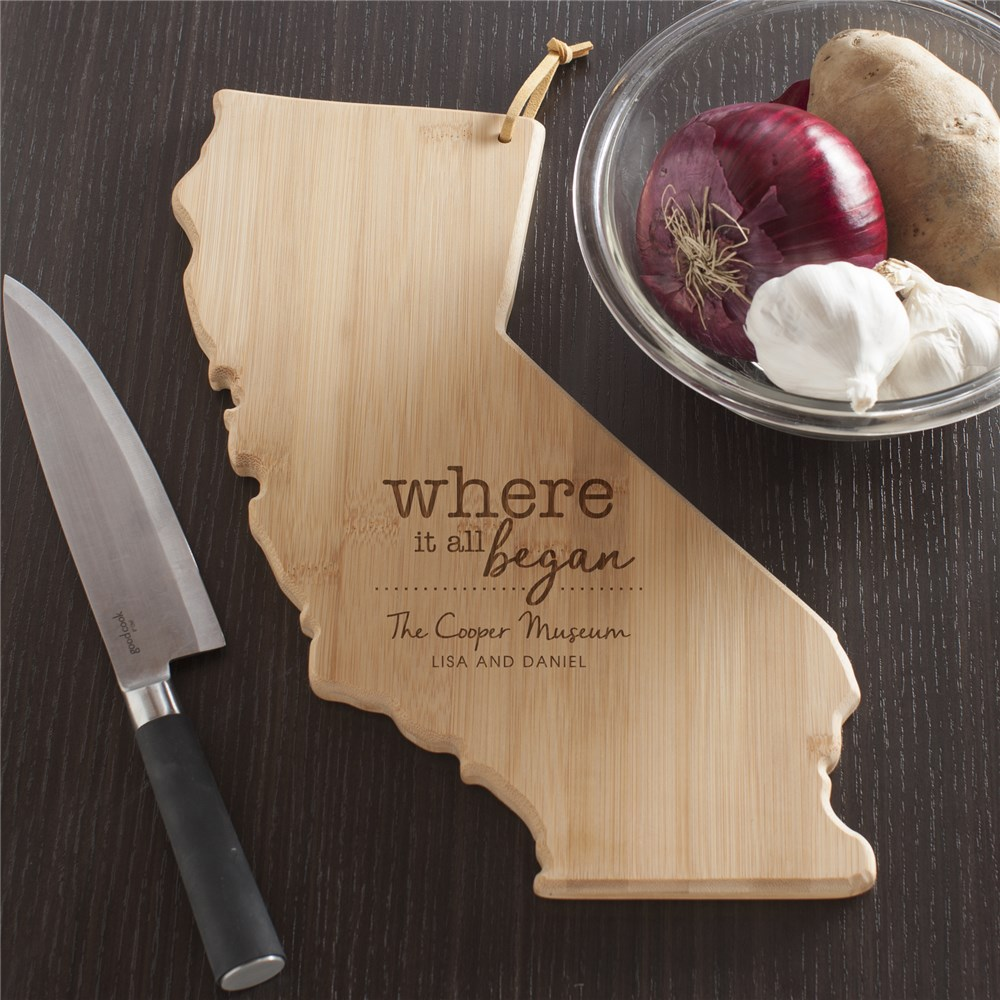 Engraved Where It All Began California Cutting Board | Personalized Cutting Boards