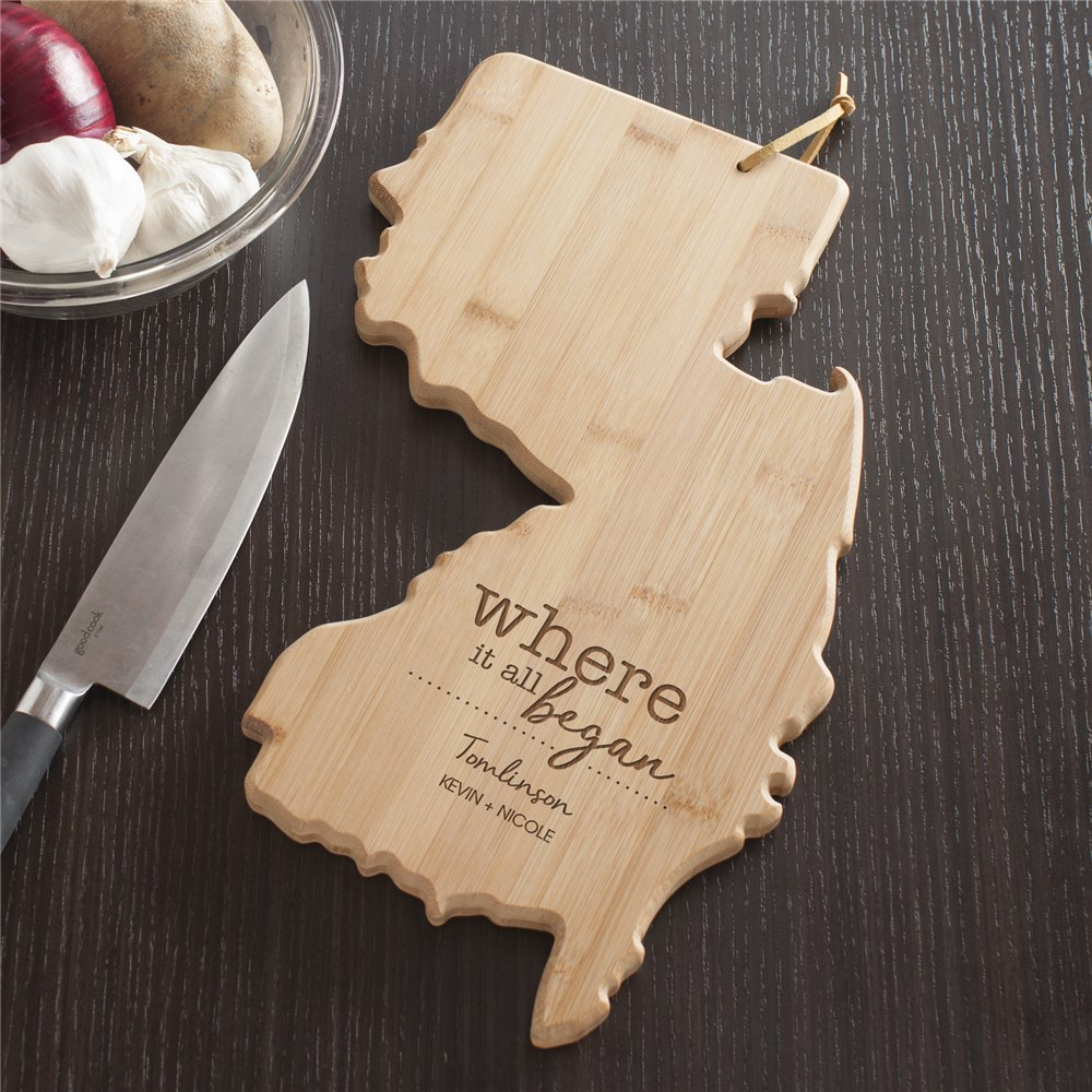 Engraved Where It All Began New Jersey State Cutting Board | Personalized Cutting Boards
