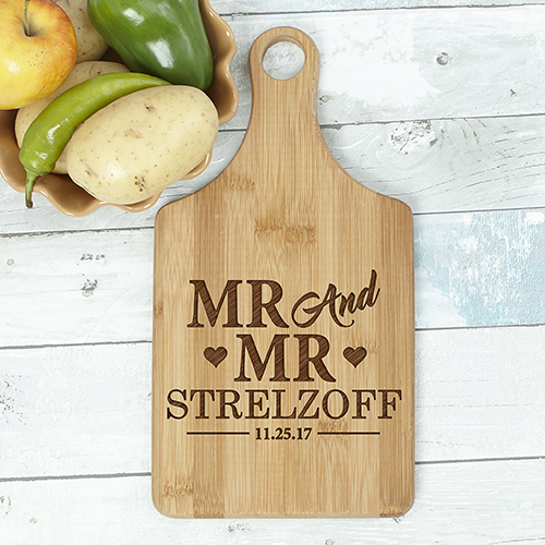 Engraved Mr & Mrs Paddle Cutting Board L11031188