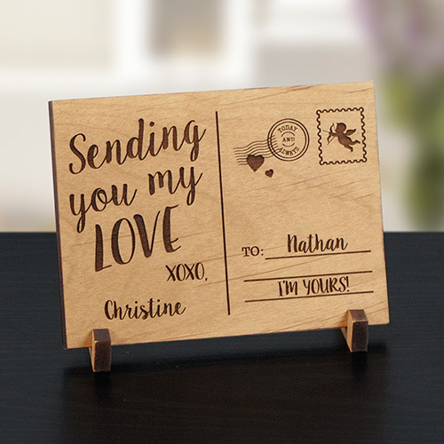 Engraved Sending Love Wood Postcard | Personalized Valentines Gifts