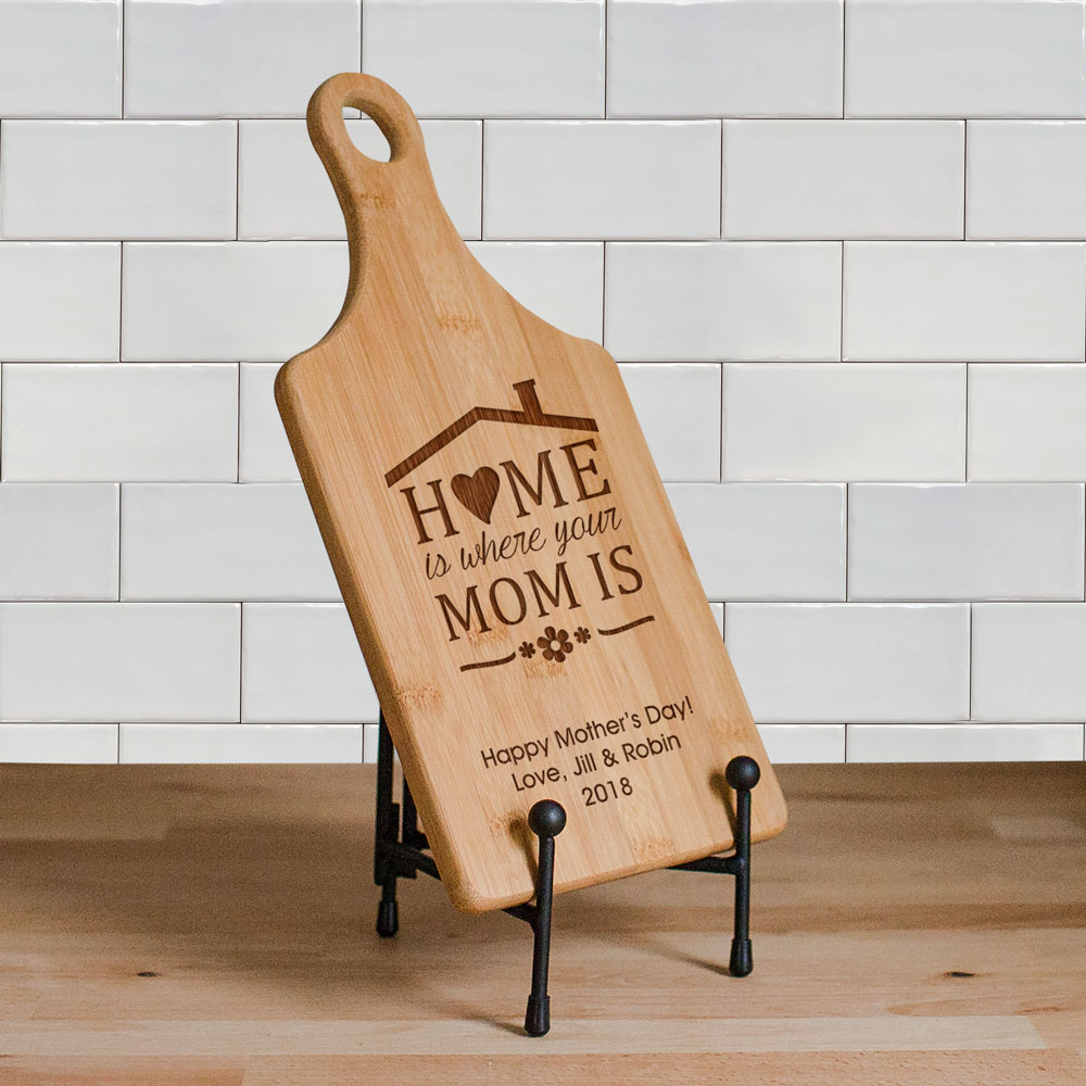 Engraved Home is Where Your Mom is Paddle Cutting Board | Mother's Day Gifts