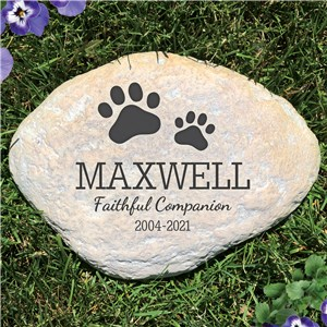 Personalized Pet Print Memorial Garden Stone | Pet Memorial Stones Personalized