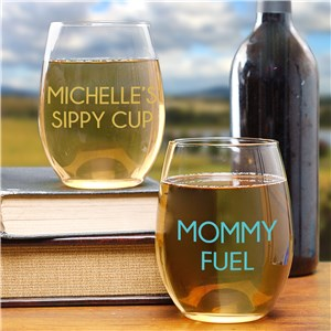 Personalized Mommy Fuel Stemless Wine Glass | Mother's Day Cups