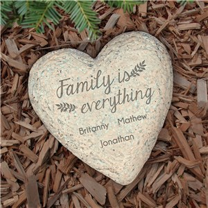 Engraved Family is Everything Heart Garden Stone | Personalized Gifts For Mom