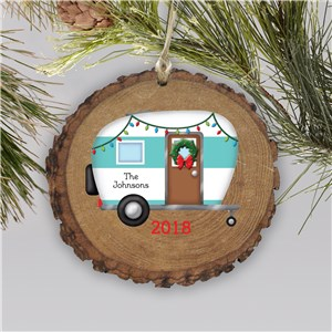 Personalized Happy Camper Wood Ornament | Personalized Christmas Ornaments