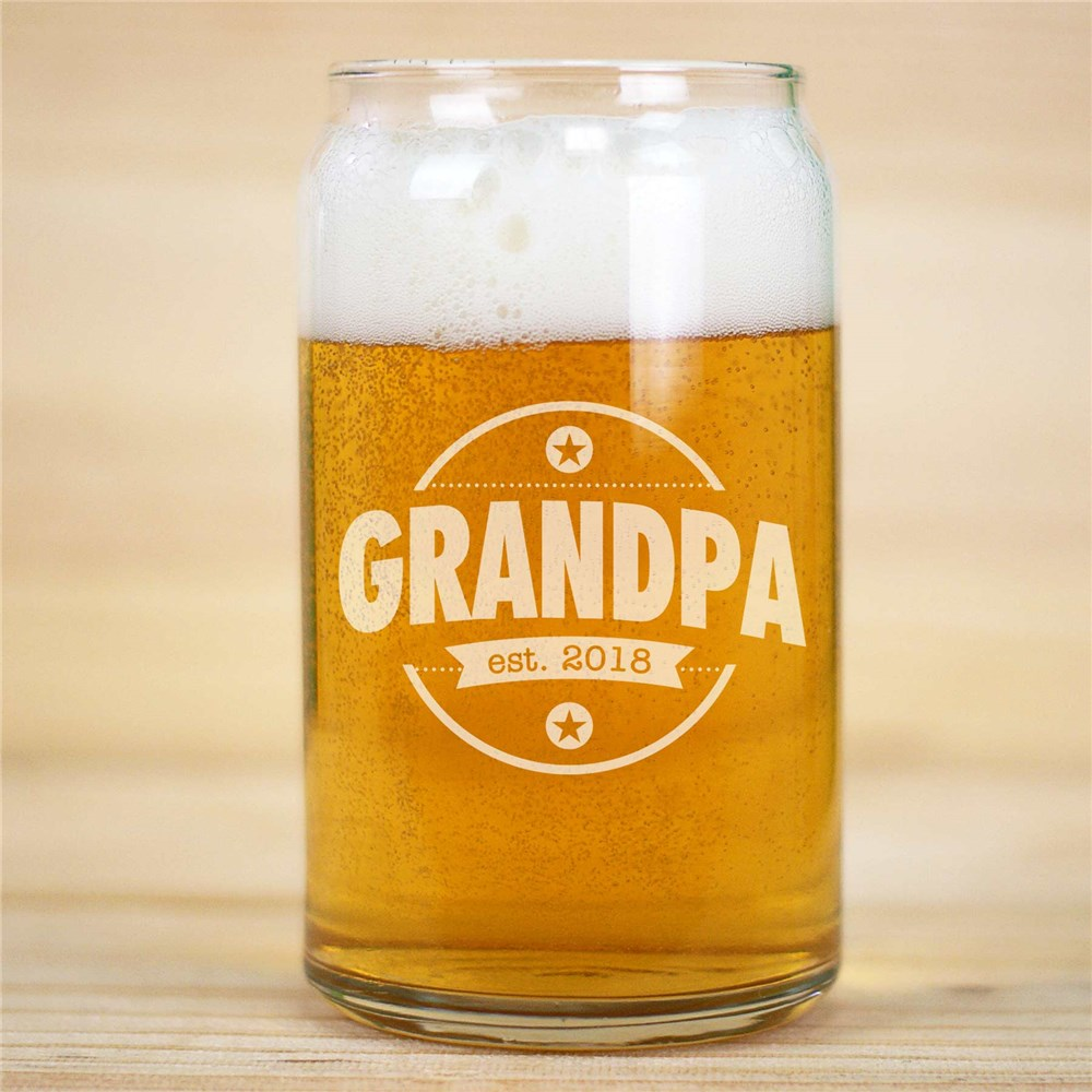 Engraved grandpa beer Can Glass | Bar Gifts for Dad