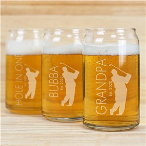 Engraved Golfer Beer Can Glass | Golfing Gifts