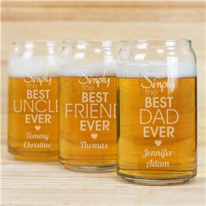 Engraved Simply the Best Beer Can Glass | Personalized Barware Gifts For Dad