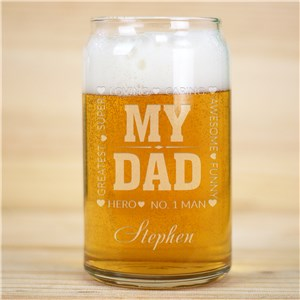 Engraved My Hero Beer Can Glass | Personalized Barware Gifts