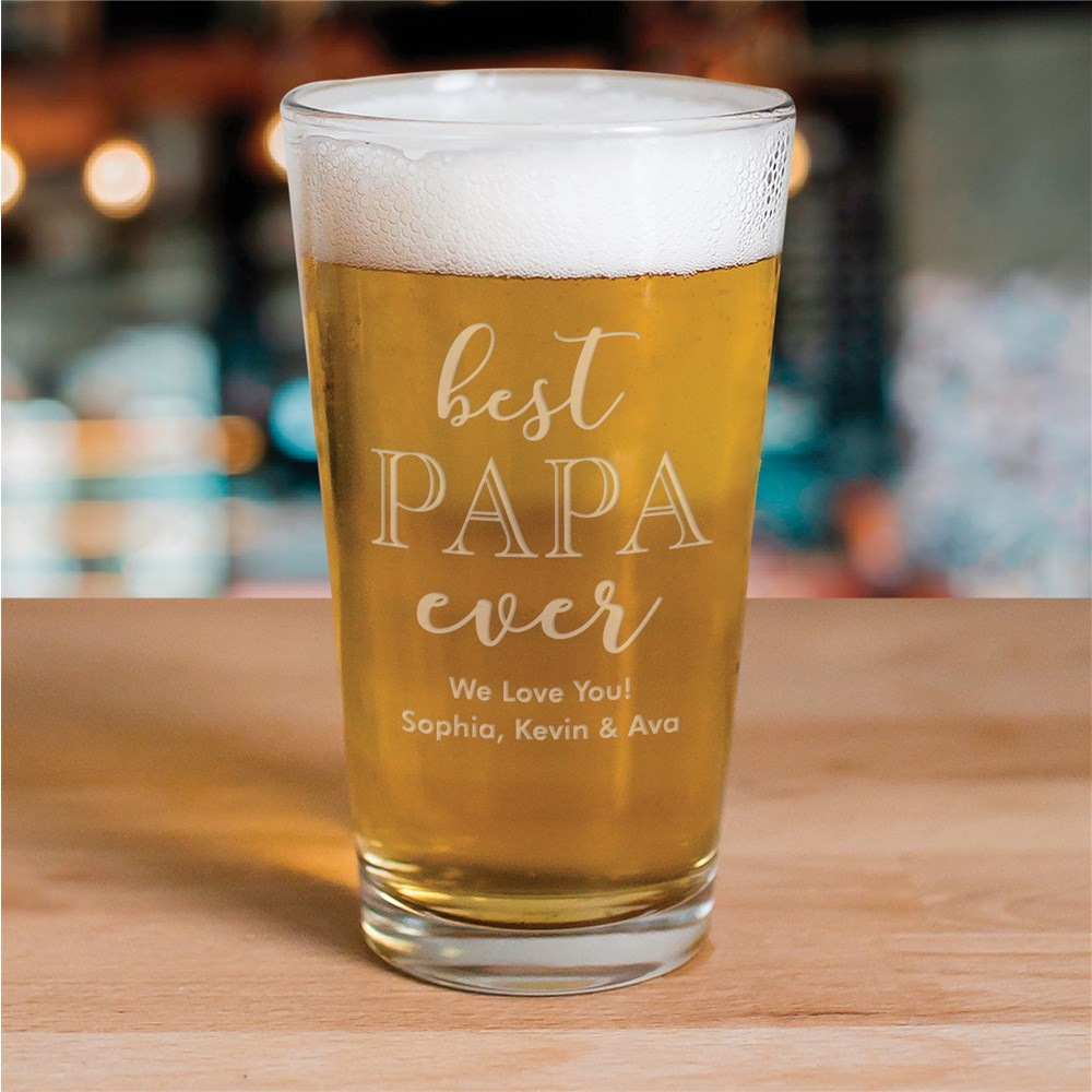 Engraved Best Papa Ever Beer Glass | Personalized Barware