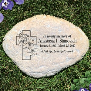 Personalized Floral Cross Memorial Garden Stone L1176314P