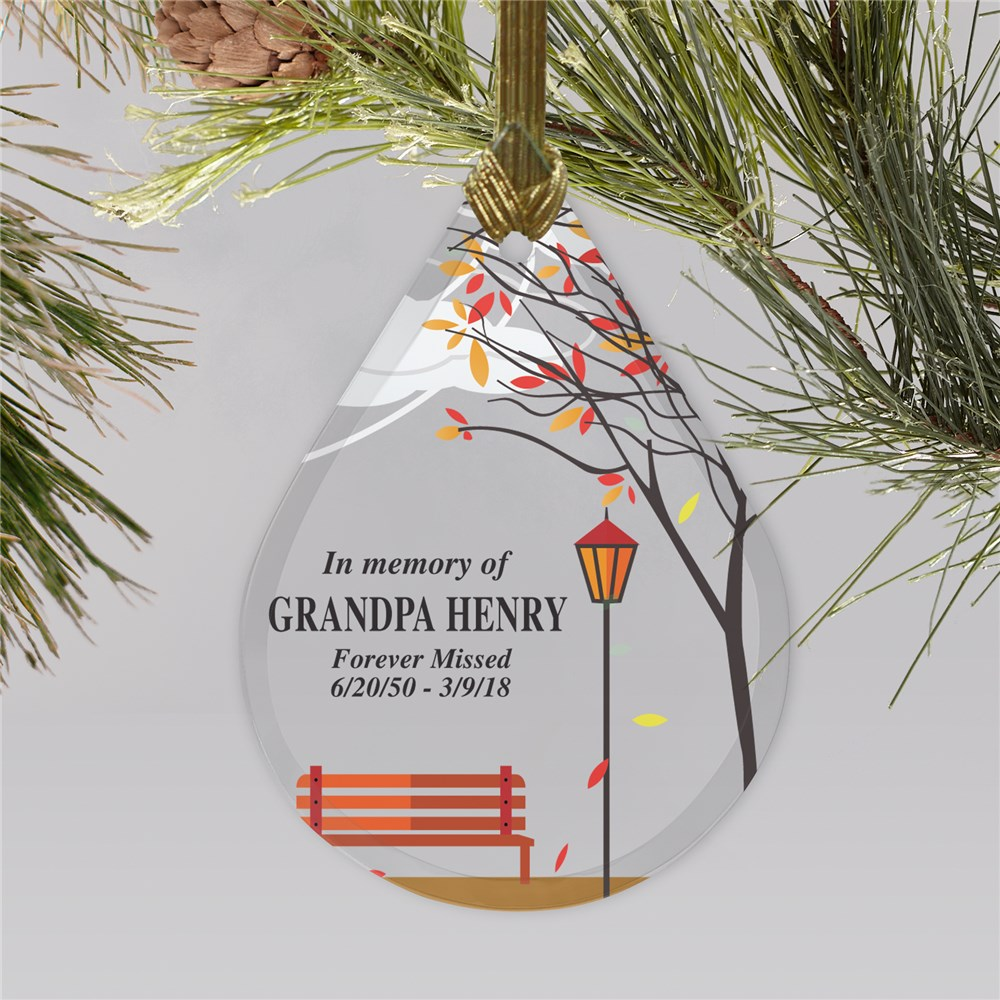 Empty Bench Personalized Memorial Ornament | Tear Drop Glass | Memorial Ornaments