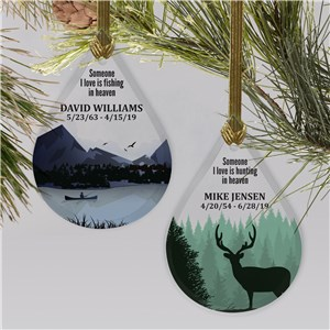 Personalized Fishing or Hunting Tear Drop Glass Memorial Ornament L11771111