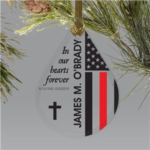 Personalized Flag Memorial Tear Drop Glass Ornament | Memorial Ornaments