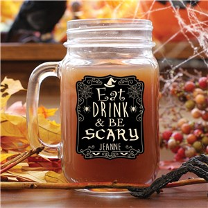 Personalized Eat Drink & Be Scary Mason Jar | Personalized Halloween Mugs