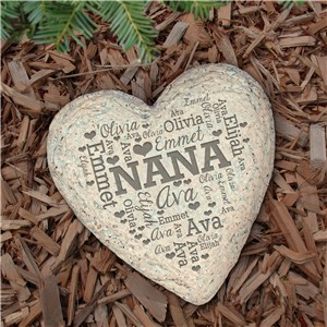 Engraved Family Word-Art Large Heart Garden Stone | Engraved Garden Stones