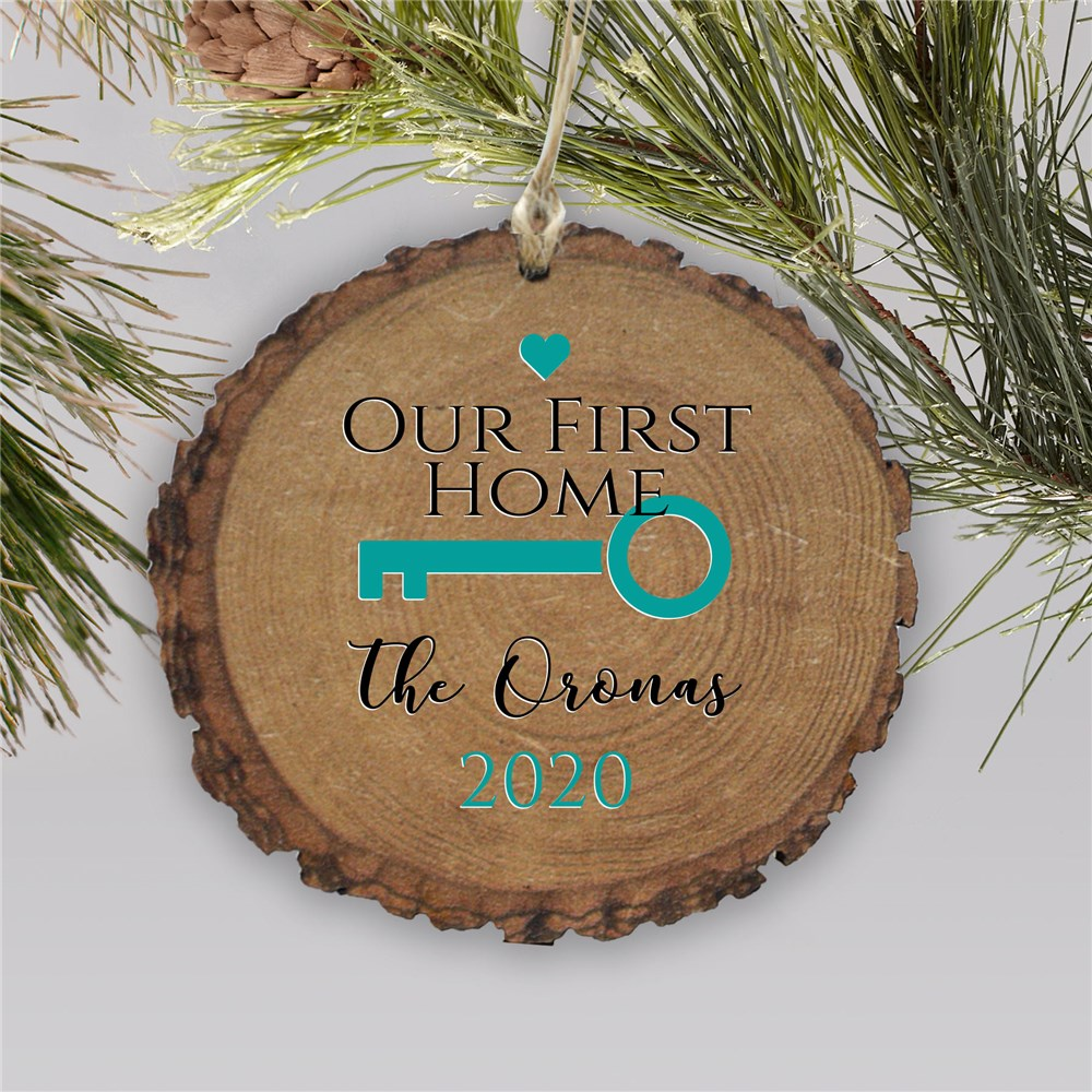 Personalized Our First Home Key Wood Ornament | Personalized Christmas Ornaments