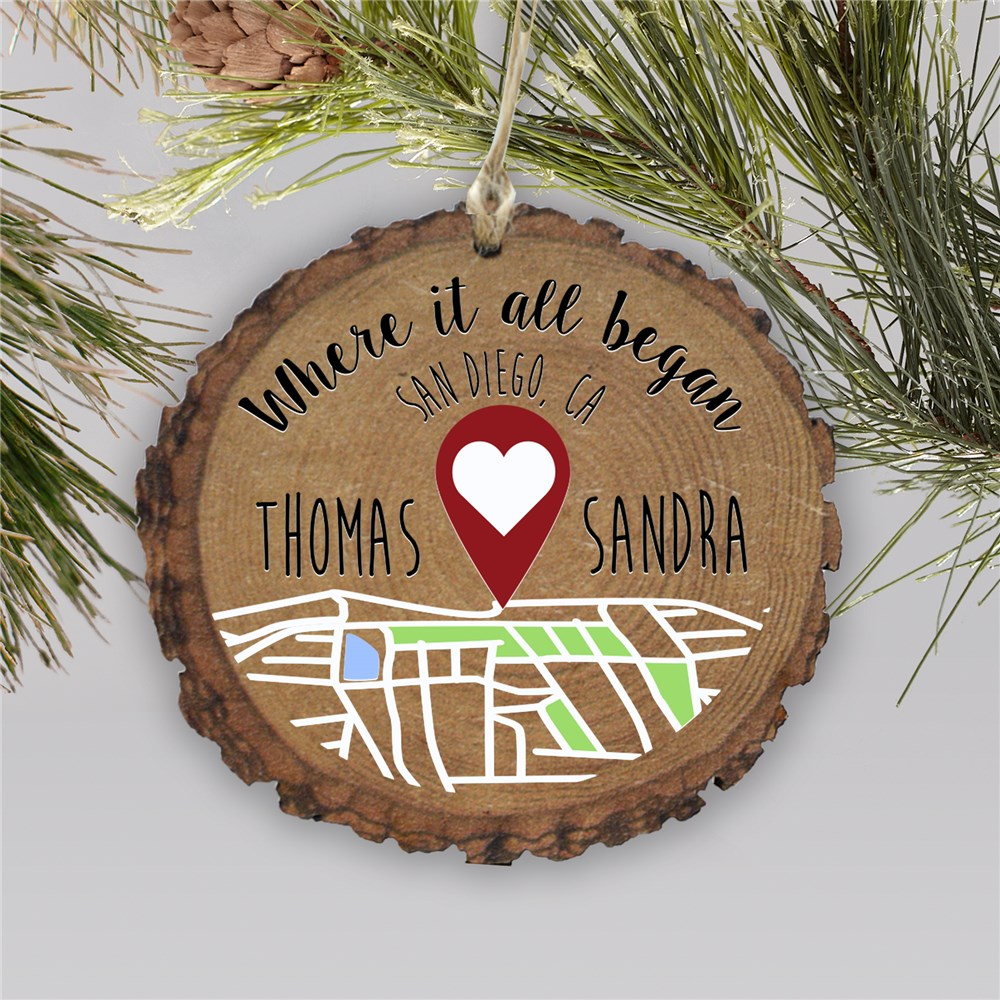 Personalized Where It All Began Wood Couples Ornament | Personalized Couples Ornament