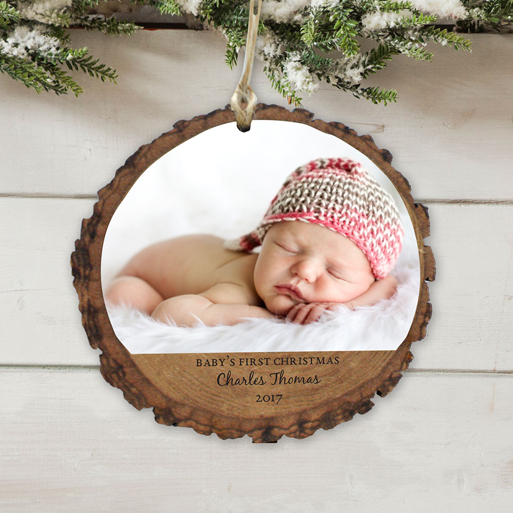 Personalized Babys First Christmas Photo Wood Ornament | Personalized Baby's First Christmas Ornaments
