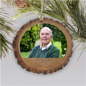 Personalized Memorial Photo Ornament | Rustic | Personalized Memorial Ornaments