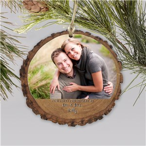 Unique Our First Christmas Photo Wood Ornament | Personalized Couples Ornaments