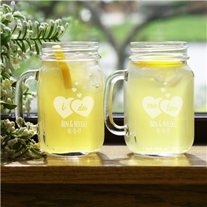 Engraved I Do, Me Too Mason Jar Set | Personalized Mason Jars For Weddings