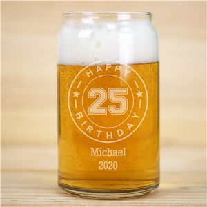 Engraved Happy Birthday Beer Can Glass | Personalized Birthday Glass