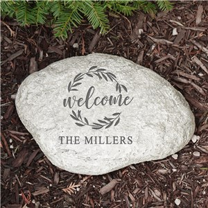 Engraved Wreath Welcome Garden Stone | Personalized Garden Stones