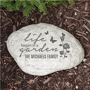 Engraved Life Began in a Garden Large Garden Stone L1250014P