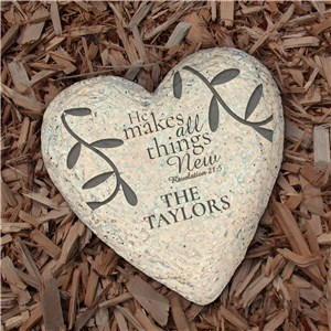 Engraved He Makes All Things New Heart Garden Stone | Personalized Garden Stone
