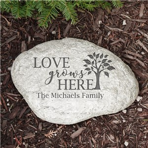 Engraved Love Grows Here Garden Stone | Personalized Garden Stone