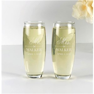 Engraved Toasting Flutes | Laser Engraved Stemless Wedding Glasses