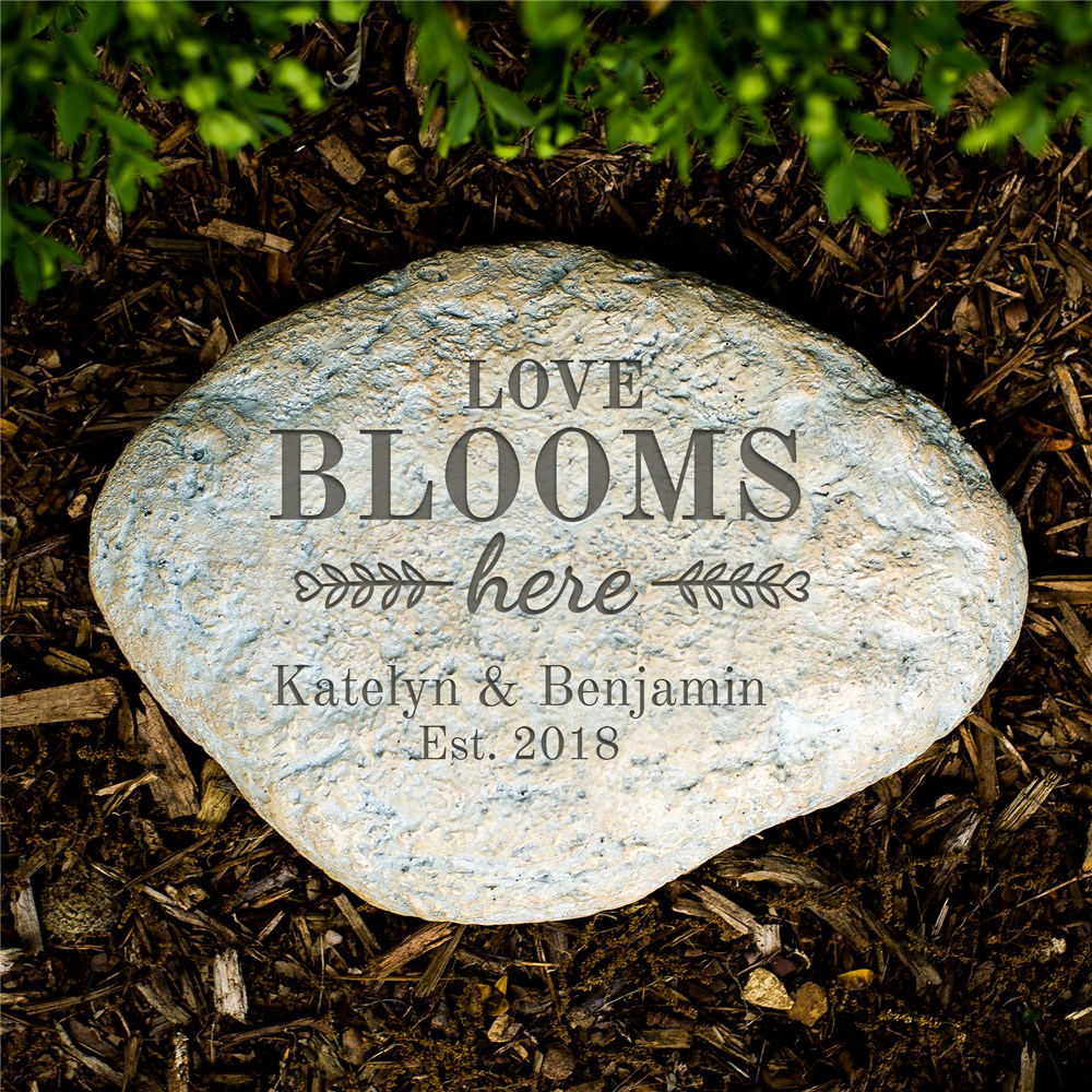 Engraved Love Blooms Here Large Garden Stone | Engraved Garden Stones