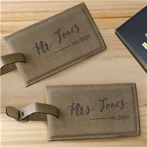 Engraved Mr. and Mrs. Leather Luggage Tag Set | Couples Luggage Tags