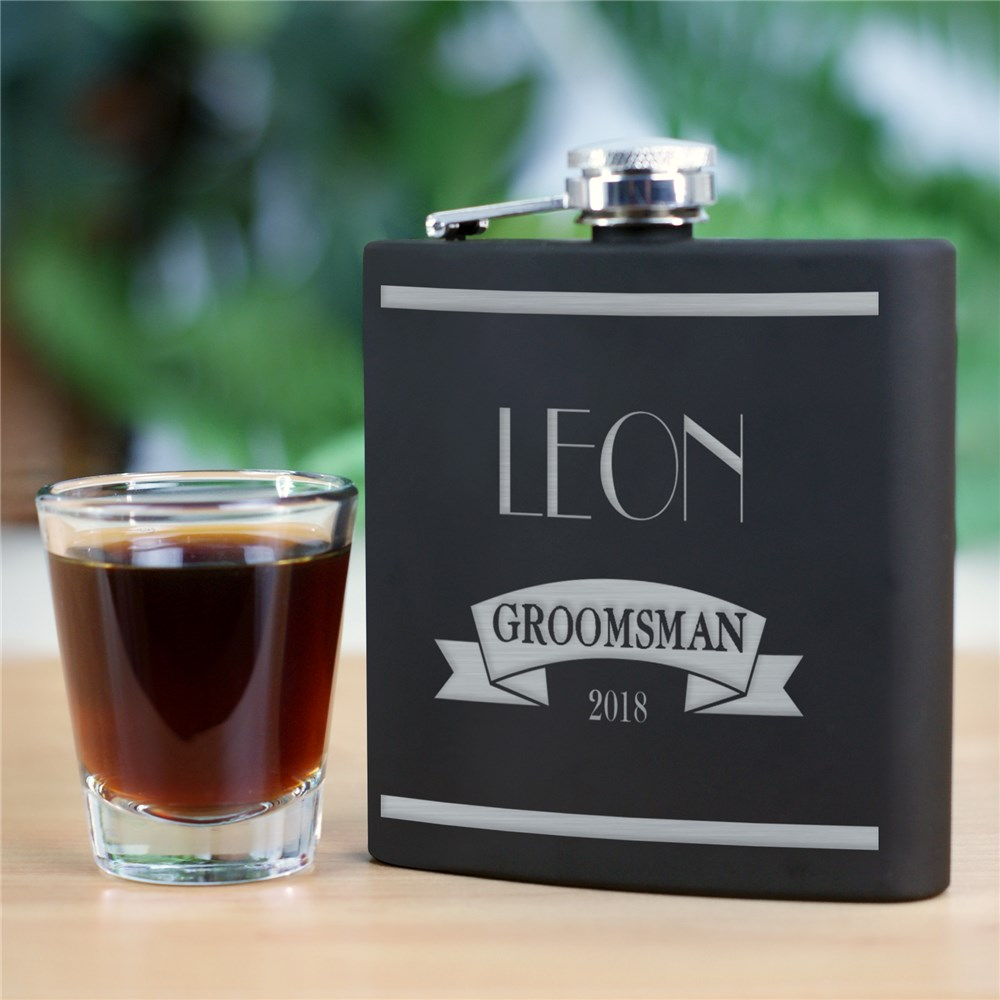 Engraved Wedding Party Steel Flask | Personalized Groomsmen Flasks