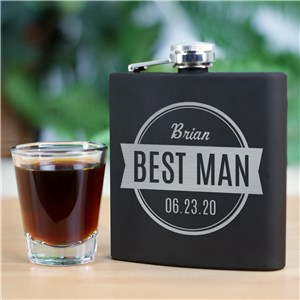 Engraved Groomsmen Steel Flask | Personalized Groomsmen Flasks