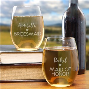Engraved Bridal Party Stemless Wine Glass | Bridesmaid Gifts Personalized Wine Glasses