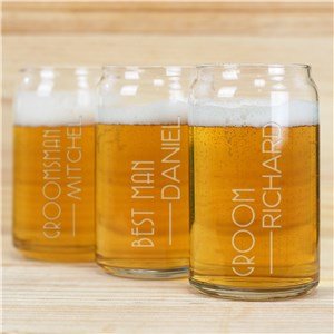 Engraved Groomsmen Beer Can Glass | Personalized Groomsmen Beer Glasseses
