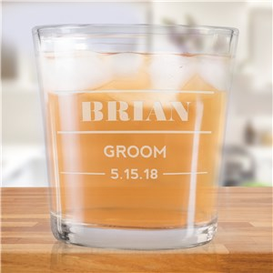 Engraved Wedding Party Rocks Glass | Groomsmen Whiskey Glasses