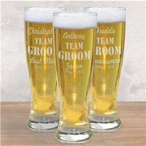 Engraved Wedding Party Team Pilsner Glass | Groomsmen Beer Glasses