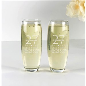 Engraved Anniversary Flutes | Personalized Anniversary Party Glassware