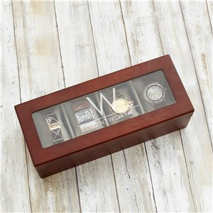 Engraved Initial and Last Name Watch Box | Personalized Watch Box