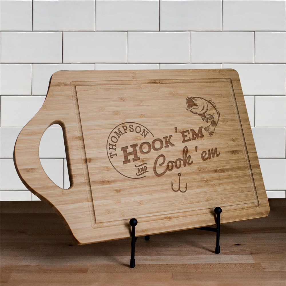 Engraved Hook Em and Cook Em Cutting Board | Personalized Cutting Boards