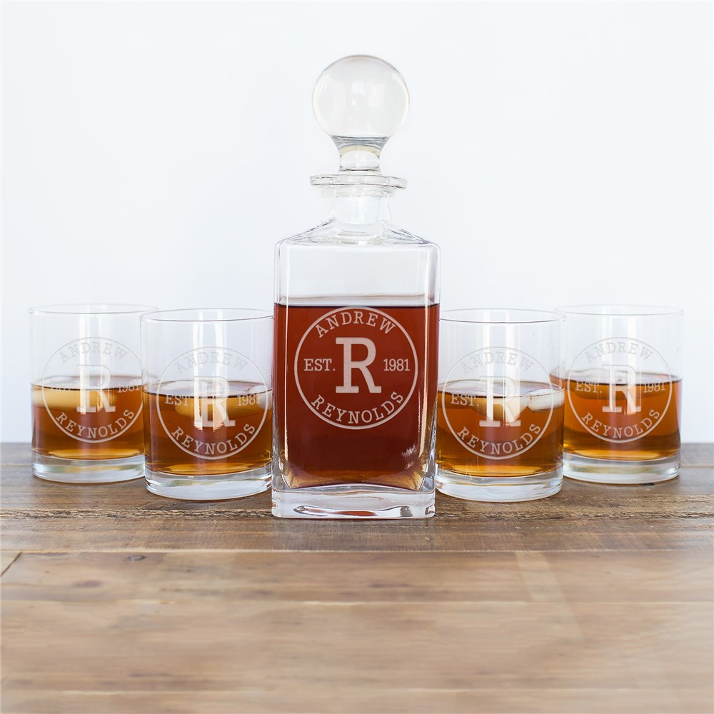 Engraved Initial Decanter and Rocks Glass Set | Personalized Decanter Set