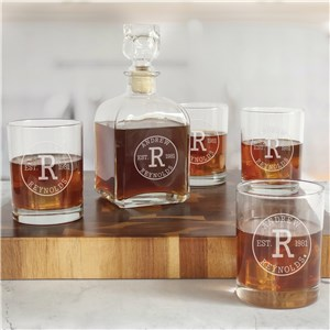 Engraved Circle Initial Decanter and Rocks Glass Set L12804280-S4
