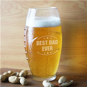 Engraved Dad Glass Football Tumbler | Personalized Football Beer Glass