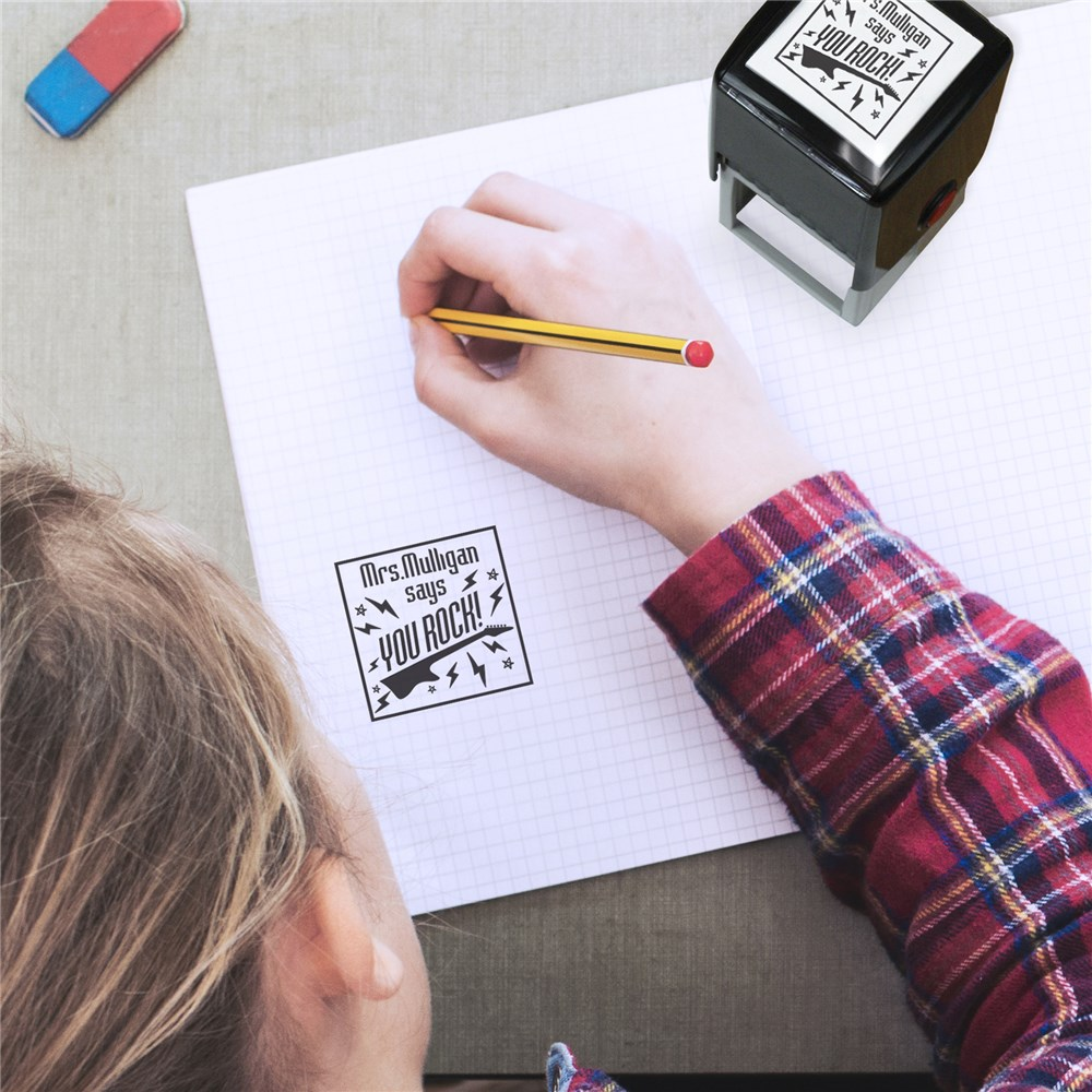Personalized You Rock Square Stamper | Personalized Self Inking Stamps