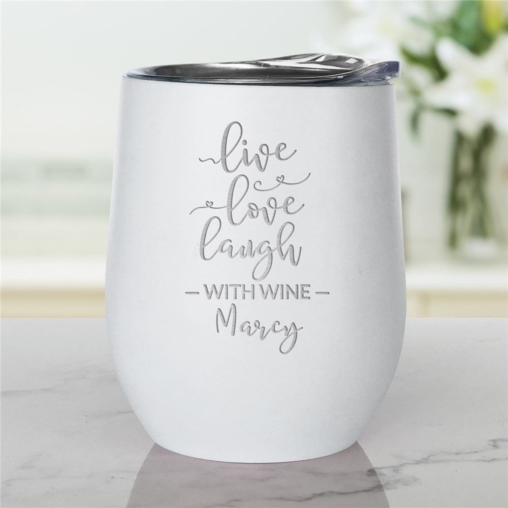 Engraved Stemless Wine Tumbler | Personalized Live Love Laugh Wine Tumbler